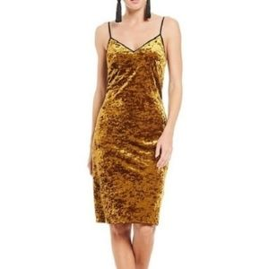 1. State Gold Velvet Velour Midi Slip Dress